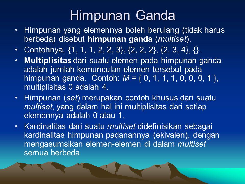 Himpunan Ganda Himpunan yang elemennya boleh berulang (tidak harus berbeda) disebut himpunan ganda (multiset).