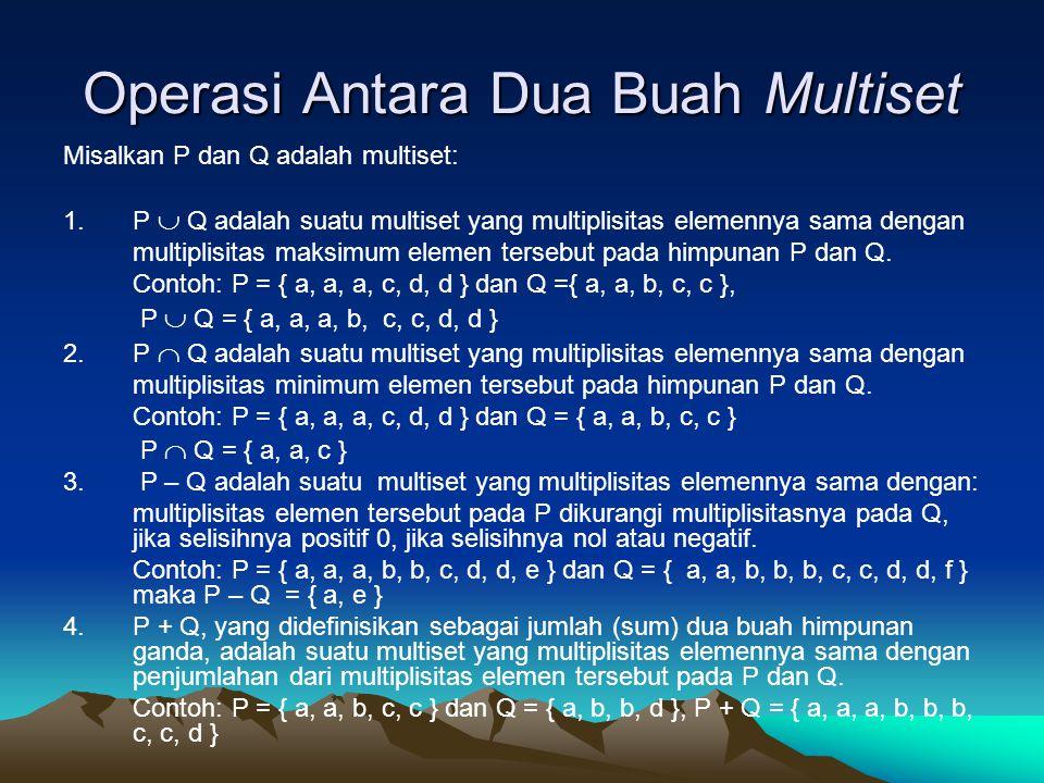 Operasi Antara Dua Buah Multiset Misalkan P dan Q adalah multiset: 1. P  Q adalah suatu multiset yang multiplisitas elemennya sama dengan multiplisit