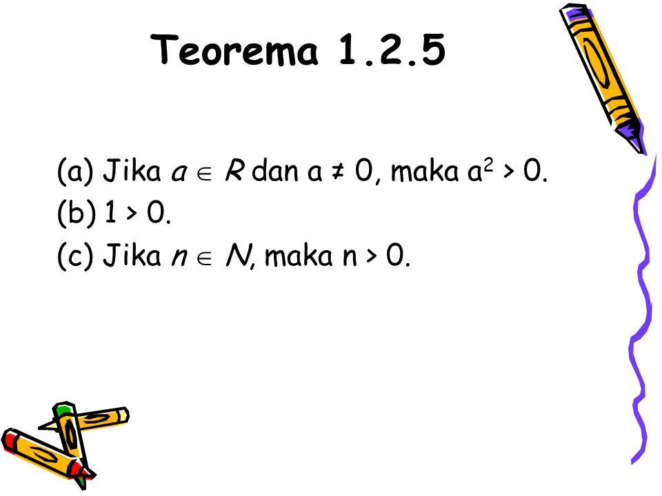 Teorema 1.2.5 (a) Jika a  R dan a ≠ 0, maka a 2 > 0. (b) 1 > 0. (c) Jika n  N, maka n > 0.