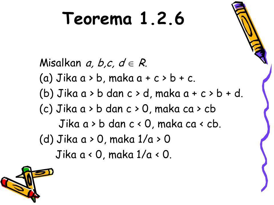 Teorema 1.2.6 Misalkan a, b,c, d  R. (a) Jika a > b, maka a + c > b + c. (b) Jika a > b dan c > d, maka a + c > b + d. (c) Jika a > b dan c > 0, maka