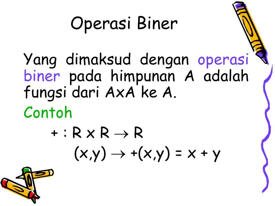 Operasi Biner Yang dimaksud dengan operasi biner pada himpunan A adalah fungsi dari AxA ke A. Contoh + : R x R  R (x,y)  +(x,y) = x + y