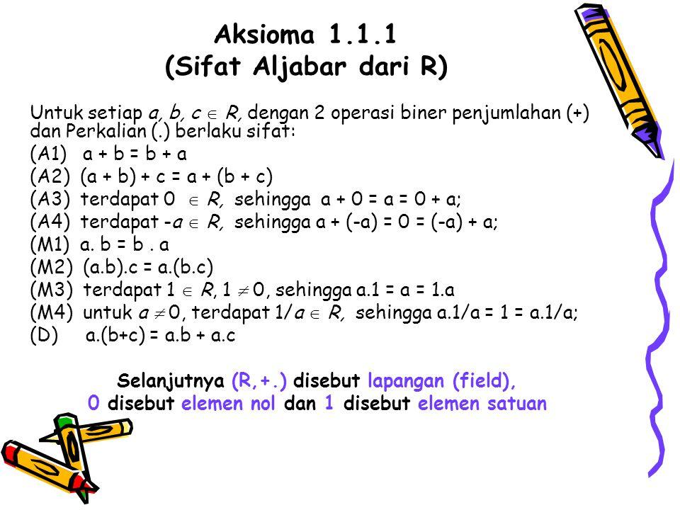 Aksioma 1.1.1 (Sifat Aljabar dari R) Untuk setiap a, b, c  R, dengan 2 operasi biner penjumlahan (+) dan Perkalian (.) berlaku sifat: (A1) a + b = b