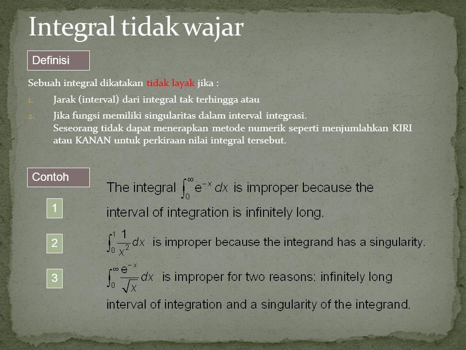 Sebuah integral dikatakan tidak layak jika : 1. Jarak (interval) dari integral tak terhingga atau 2. Jika fungsi memiliki singularitas dalam interval