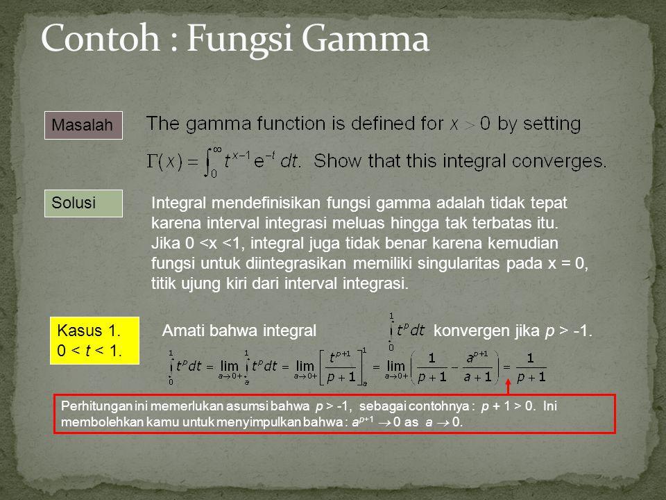 Masalah Solusi Integral mendefinisikan fungsi gamma adalah tidak tepat karena interval integrasi meluas hingga tak terbatas itu. Jika 0 <x <1, integra