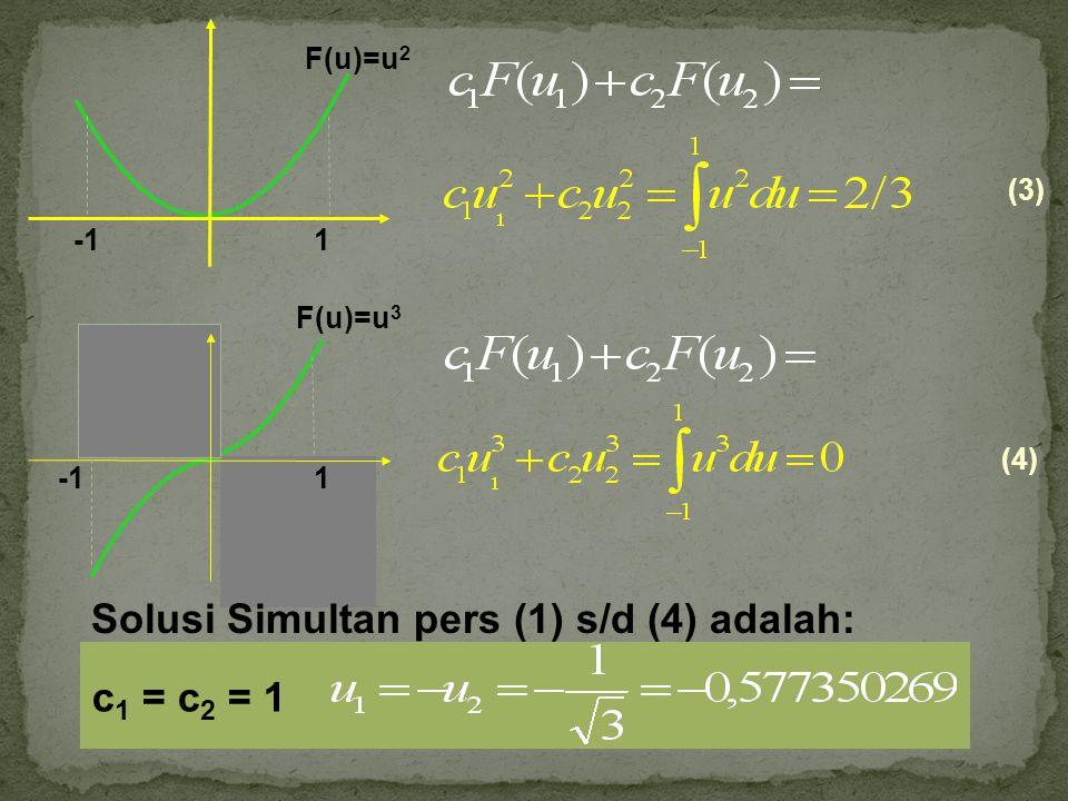 Rumus Umum Faktor-faktor pemberat c dan argumen fungsi u untuk sampai dengan 6 (enam) titik adalah sebagaimana diberikan dalam tabel 14.1: Numerical Methods For Engineer with Personal Computer Applications.