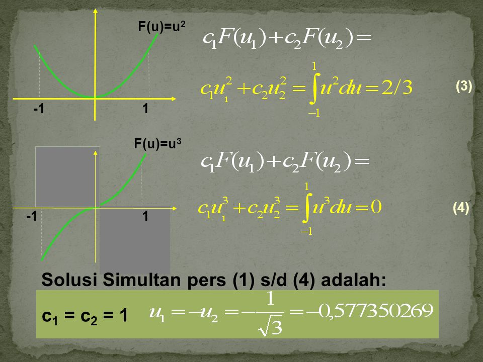 F(u)=u 3 1 (4) (3) 1 F(u)=u 2 Solusi Simultan pers (1) s/d (4) adalah: c 1 = c 2 = 1