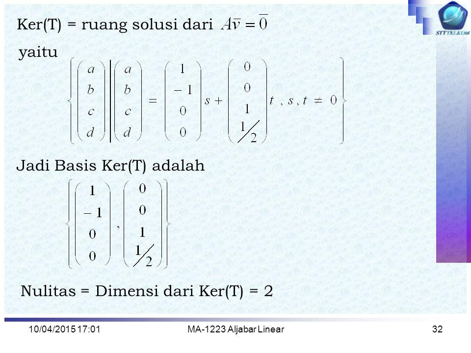 10/04/2015 17:03MA-1223 Aljabar Linear33 Latihan 1.