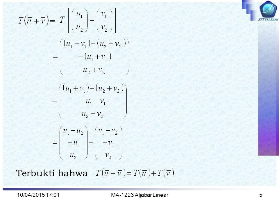 10/04/2015 17:03MA-1223 Aljabar Linear5 Terbukti bahwa