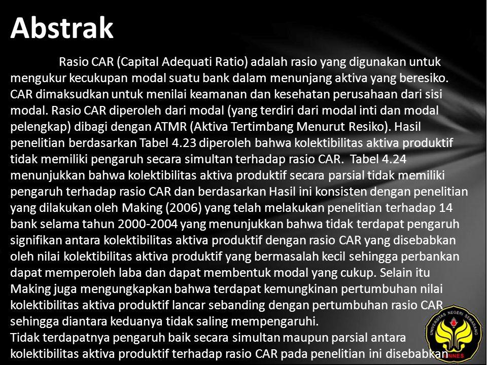 Abstrak Rasio CAR (Capital Adequati Ratio) adalah rasio yang digunakan untuk mengukur kecukupan modal suatu bank dalam menunjang aktiva yang beresiko.