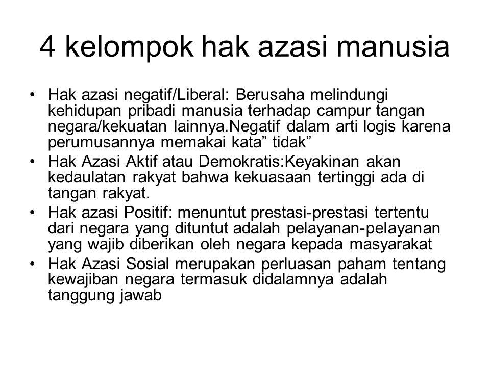 4 kelompok hak azasi manusia Hak azasi negatif/Liberal: Berusaha melindungi kehidupan pribadi manusia terhadap campur tangan negara/kekuatan lainnya.N