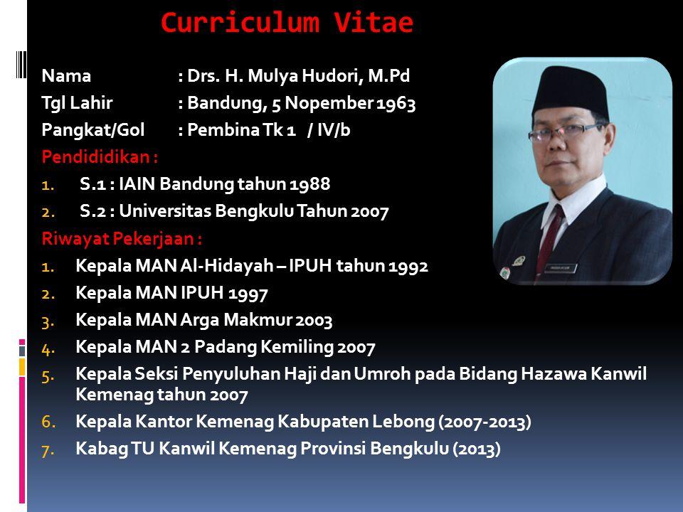 Curriculum Vitae Nama: Drs. H. Mulya Hudori, M.Pd Tgl Lahir: Bandung, 5 Nopember 1963 Pangkat/Gol: Pembina Tk 1 / IV/b Pendididikan : 1. S.1: IAIN Ban
