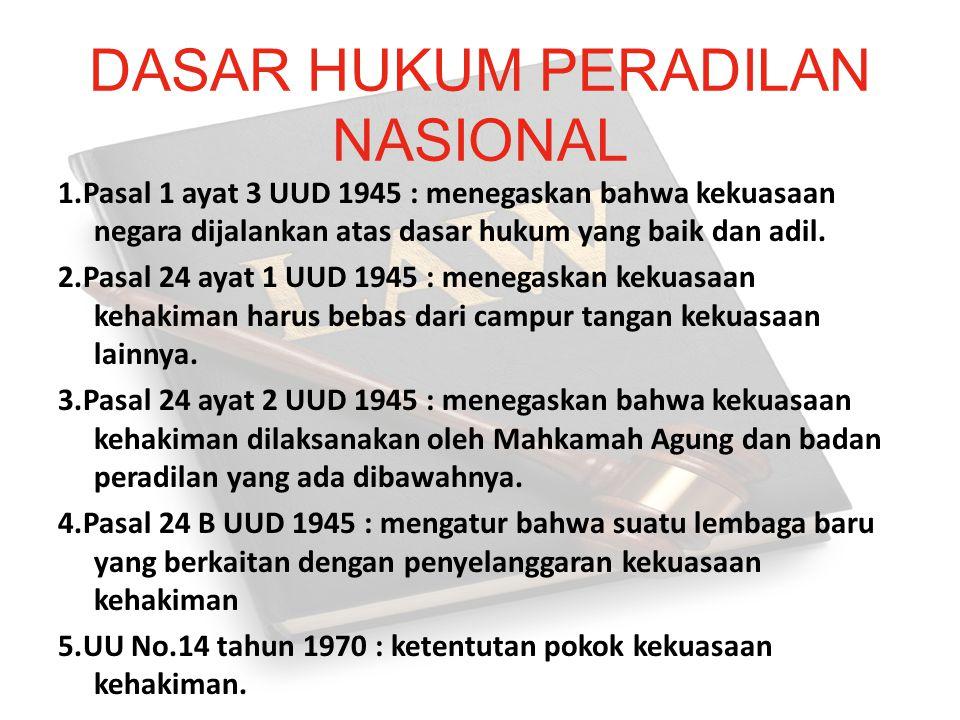 DASAR HUKUM PERADILAN NASIONAL 1.Pasal 1 ayat 3 UUD 1945 : menegaskan bahwa kekuasaan negara dijalankan atas dasar hukum yang baik dan adil. 2.Pasal 2