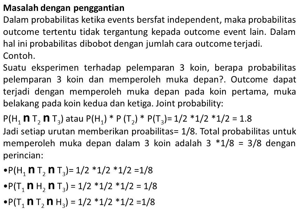 Masalah dengan penggantian Dalam probabilitas ketika events bersfat independent, maka probabilitas outcome tertentu tidak tergantung kepada outcome ev