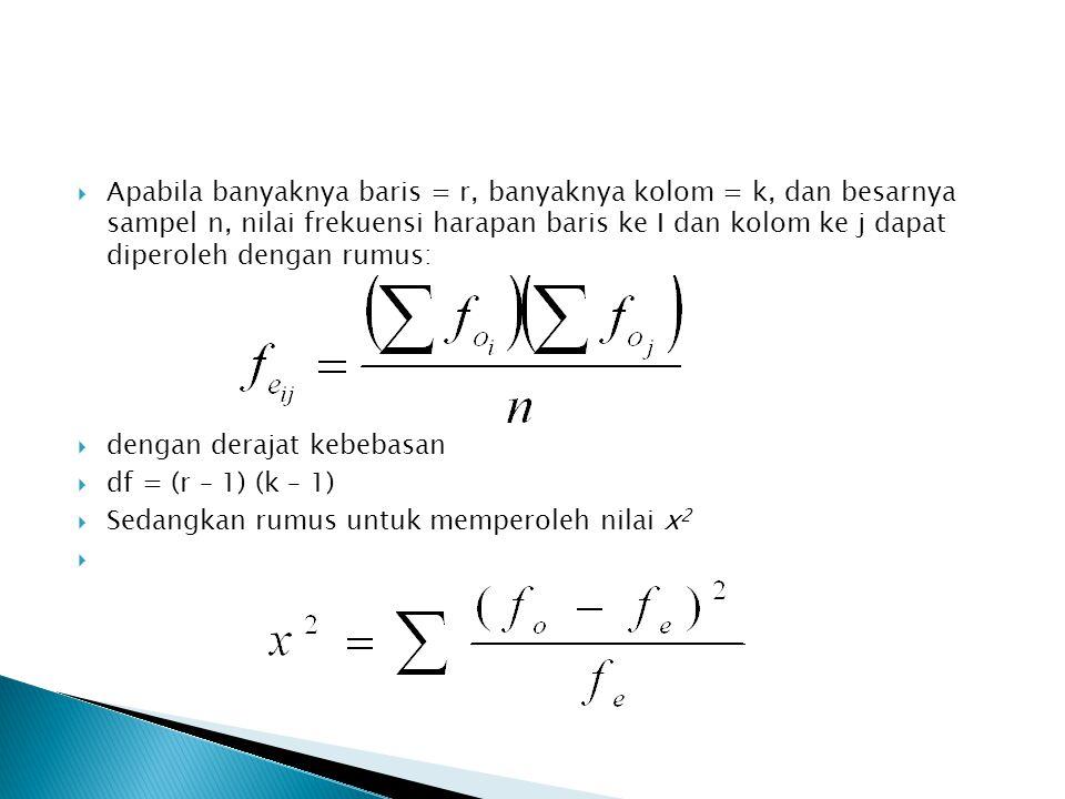  Apabila banyaknya baris = r, banyaknya kolom = k, dan besarnya sampel n, nilai frekuensi harapan baris ke I dan kolom ke j dapat diperoleh dengan ru