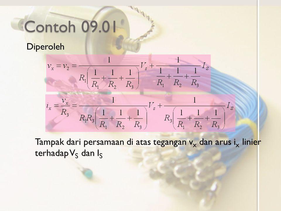 Contoh 09.01 Diperoleh Tampak dari persamaan di atas tegangan v x dan arus i x linier terhadap V S dan I S
