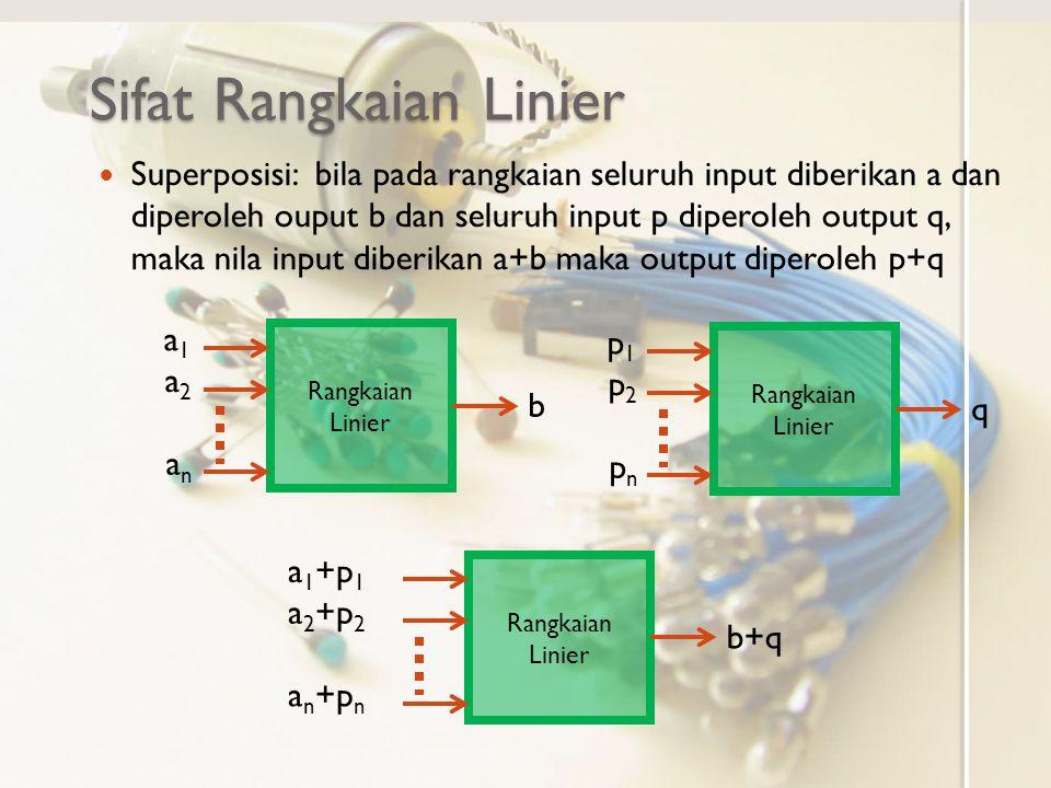 Sifat Rangkaian Linier Superposisi: bila pada rangkaian seluruh input diberikan a dan diperoleh ouput b dan seluruh input p diperoleh output q, maka nila input diberikan a+b maka output diperoleh p+q Rangkaian Linier a1a1 a2a2 anan b p1p1 p2p2 pnpn q a 1 +p 1 a 2 +p 2 a n +p n b+q