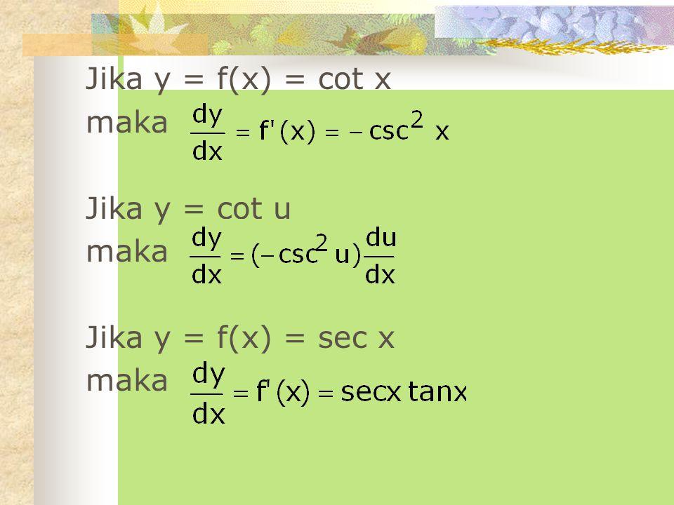 Jika y = cos u dan u = f(x) maka Jika y = f(x) = tan x maka Jika y = tan u maka
