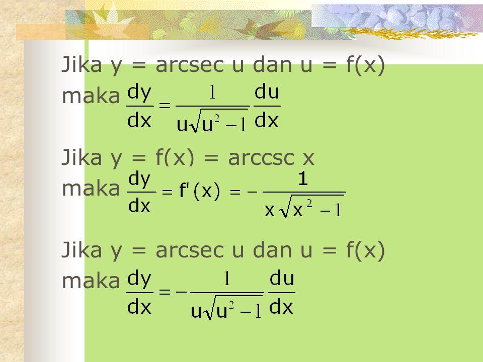 Jika y = f(x) = arccot x maka Jika y = arccot u dan u = f(x) maka Jika y = f(x) = arcsec x maka