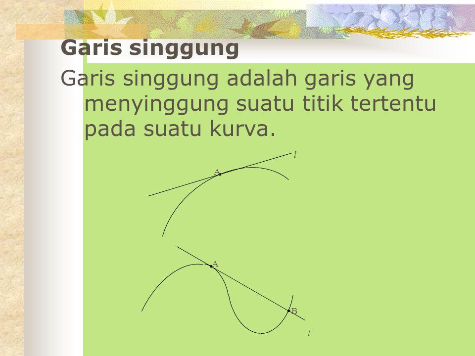 Garis singgung Garis singgung adalah garis yang menyinggung suatu titik tertentu pada suatu kurva.