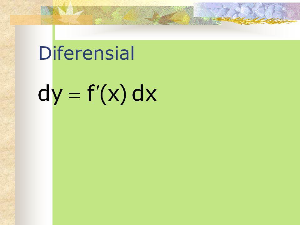 Turunan tingkat tinggi Jika terdapat suatu fungsi f(x) yang differensiable, maka kita dapat mencari turunan pertamanya yaitu f'(x). Jika turunan perta