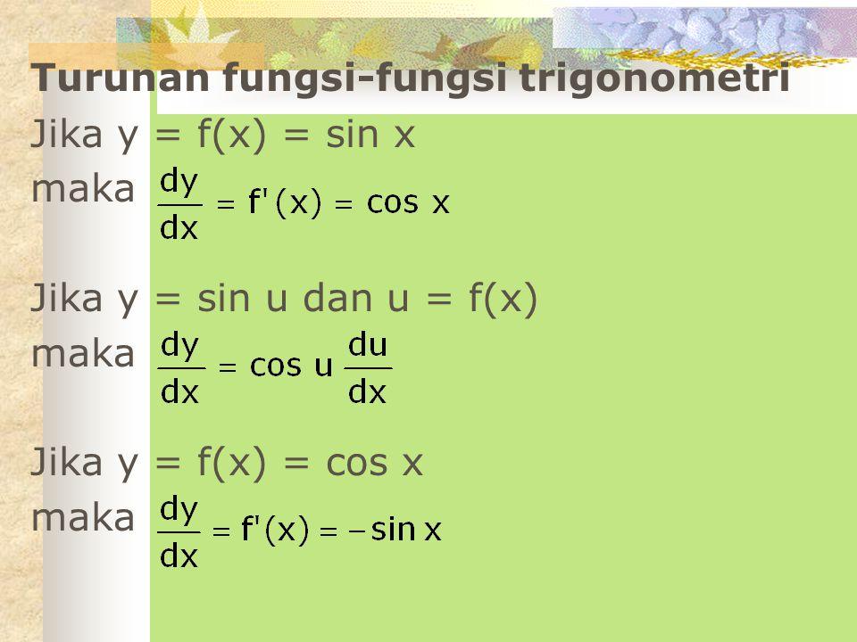 Turunan fungsi-fungsi trigonometri Jika y = f(x) = sin x maka Jika y = sin u dan u = f(x) maka Jika y = f(x) = cos x maka