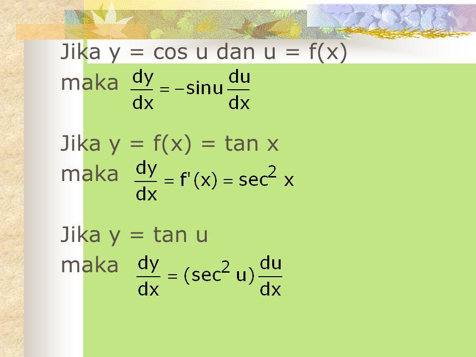 Turunan fungsi hiperbolik Jika y = f(x) = sinh x maka Jika y = sinh u dan u = f(x) maka Jika y = f(x) = cosh x maka