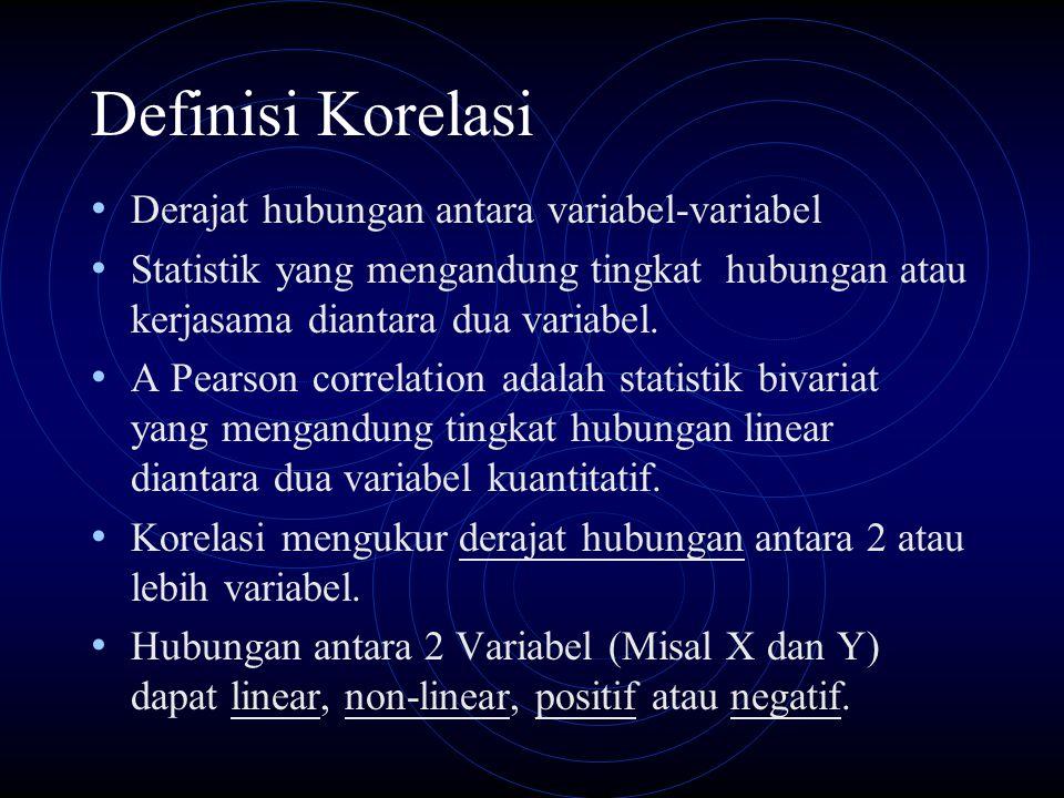 Definisi Korelasi Derajat hubungan antara variabel-variabel Statistik yang mengandung tingkat hubungan atau kerjasama diantara dua variabel. A Pearson