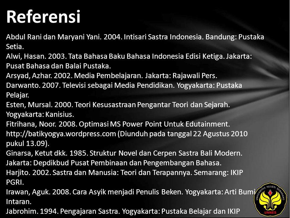 Referensi Abdul Rani dan Maryani Yani. 2004. Intisari Sastra Indonesia.