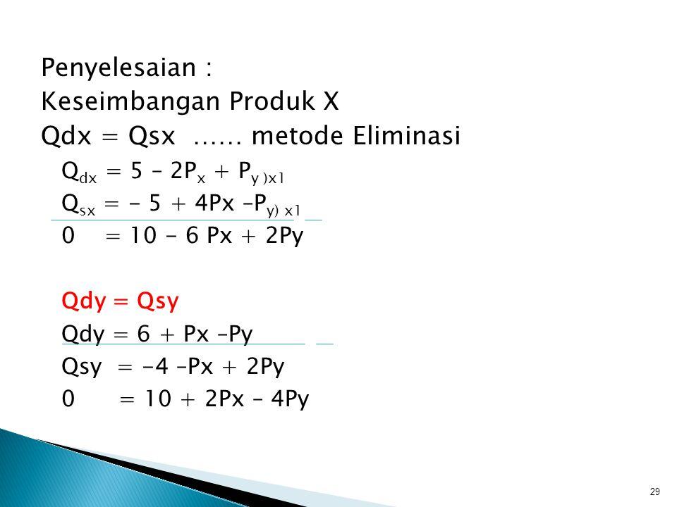 Diketahui Fungsi Permintaan dan Fungsi Penawaran dua macam produk yang berhubungan substitusi sebagai berikut : Q dx = 5 – 2P x + P y Q dy = 6 – P x + P y dan Q sx = - 5 + 4Px -P y Q sy = -4 - Px + 3P y Carilah harga dan jumlah keseimbangan Pasar.