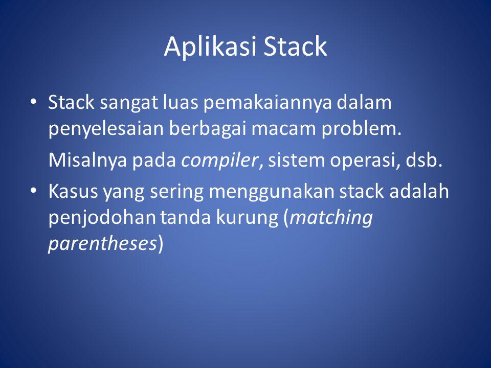 Aplikasi Stack Stack sangat luas pemakaiannya dalam penyelesaian berbagai macam problem. Misalnya pada compiler, sistem operasi, dsb. Kasus yang serin