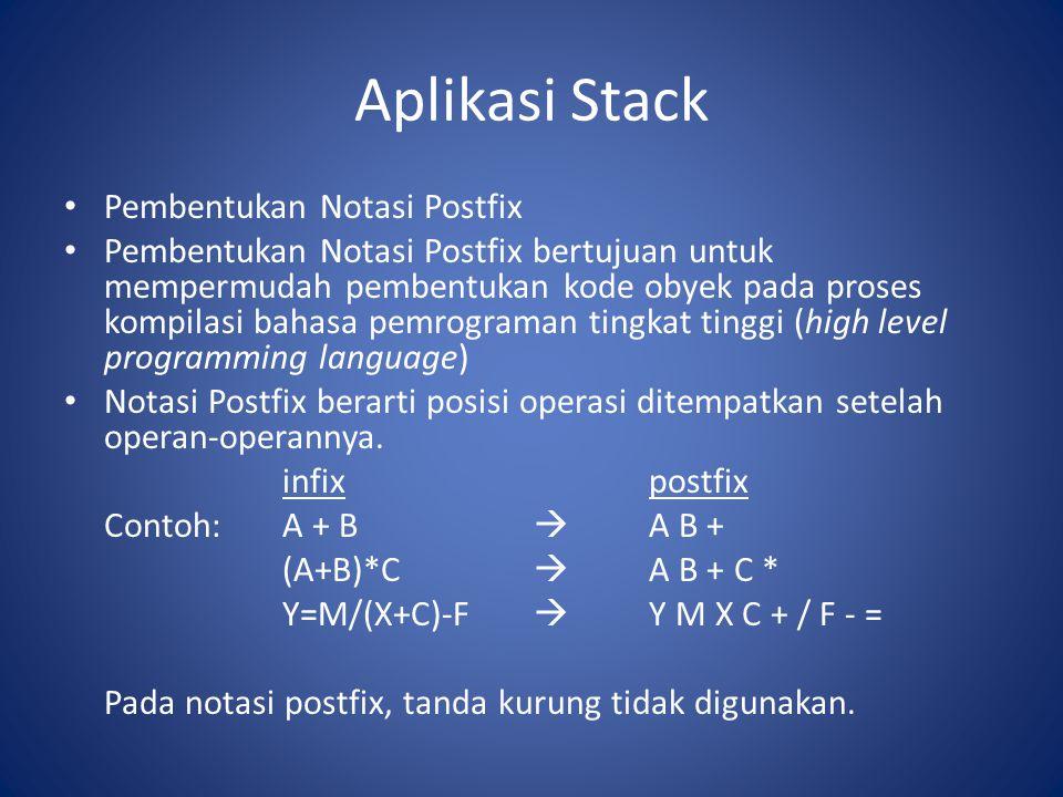Aplikasi Stack Pembentukan Notasi Postfix Pembentukan Notasi Postfix bertujuan untuk mempermudah pembentukan kode obyek pada proses kompilasi bahasa p