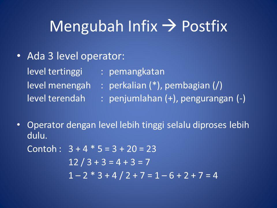 Mengubah Infix  Postfix Ada 3 level operator: level tertinggi:pemangkatan level menengah:perkalian (*), pembagian (/) level terendah:penjumlahan (+),