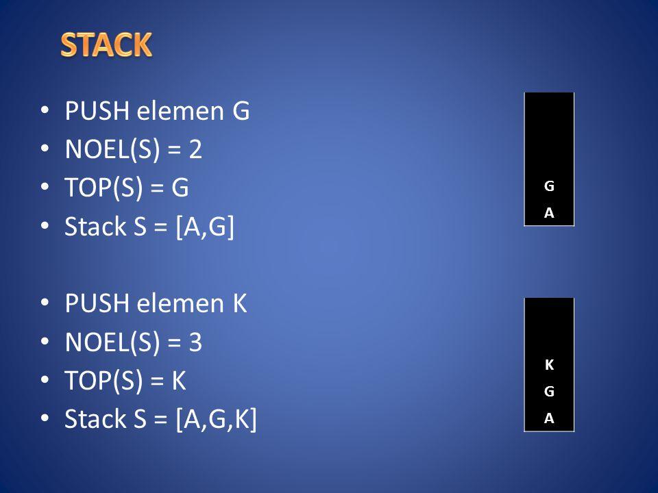PUSH elemen G NOEL(S) = 2 TOP(S) = G Stack S = [A,G] PUSH elemen K NOEL(S) = 3 TOP(S) = K Stack S = [A,G,K] G A K G A