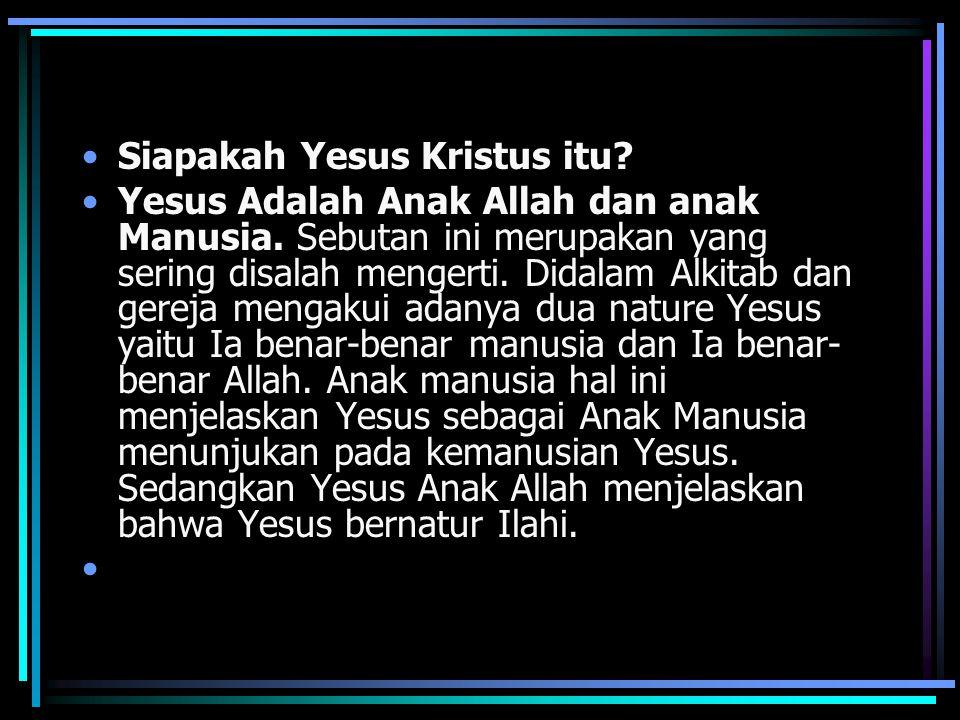 Siapakah Yesus Kristus itu.Yesus Adalah Anak Allah dan anak Manusia.