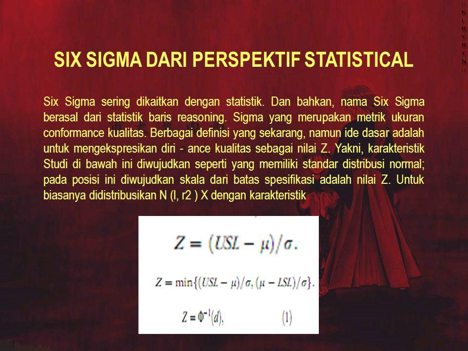 SIX SIGMA DARI PERSPEKTIF STATISTICAL Six Sigma sering dikaitkan dengan statistik. Dan bahkan, nama Six Sigma berasal dari statistik baris reasoning.