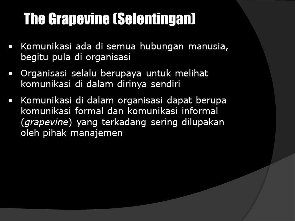 The Grapevine (Selentingan) Komunikasi ada di semua hubungan manusia, begitu pula di organisasi Organisasi selalu berupaya untuk melihat komunikasi di