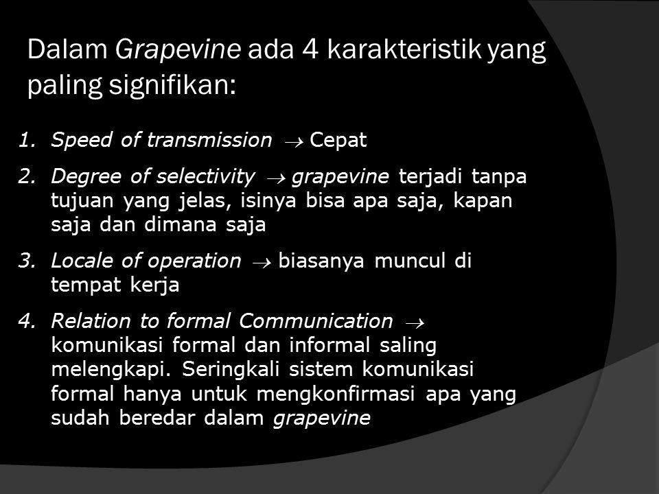 Dalam Grapevine ada 4 karakteristik yang paling signifikan: 1.Speed of transmission  Cepat 2.Degree of selectivity  grapevine terjadi tanpa tujuan y