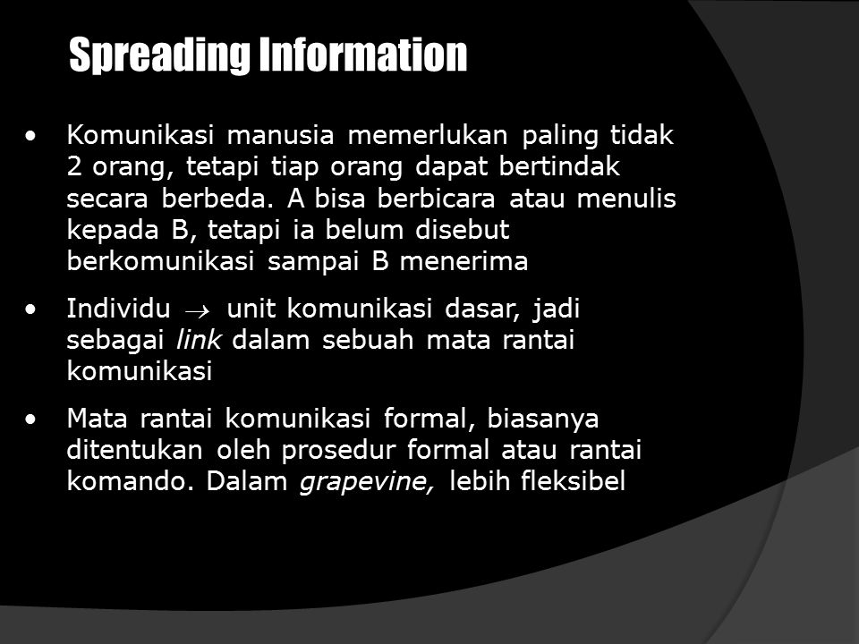 Spreading Information Komunikasi manusia memerlukan paling tidak 2 orang, tetapi tiap orang dapat bertindak secara berbeda. A bisa berbicara atau menu