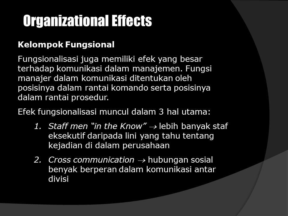 Organizational Effects Kelompok Fungsional Fungsionalisasi juga memiliki efek yang besar terhadap komunikasi dalam manajemen. Fungsi manajer dalam kom