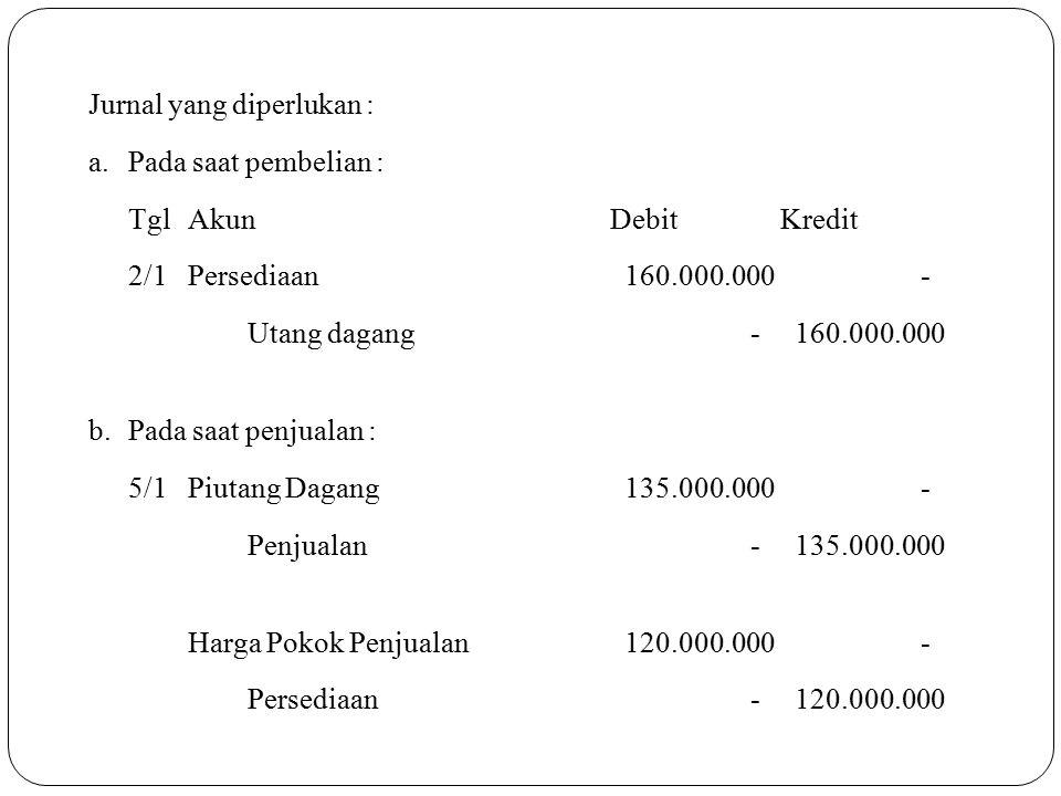 Jurnal yang diperlukan : a.Pada saat pembelian : TglAkunDebitKredit 2/1Persediaan 160.000.000 - Utang dagang - 160.000.000 b.Pada saat penjualan : 5/1