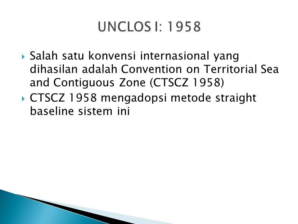  Salah satu konvensi internasional yang dihasilan adalah Convention on Territorial Sea and Contiguous Zone (CTSCZ 1958)  CTSCZ 1958 mengadopsi metode straight baseline sistem ini