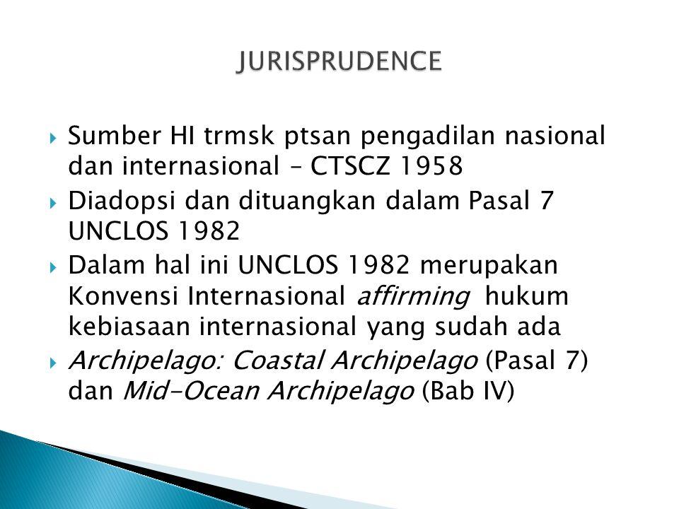  Sumber HI trmsk ptsan pengadilan nasional dan internasional – CTSCZ 1958  Diadopsi dan dituangkan dalam Pasal 7 UNCLOS 1982  Dalam hal ini UNCLOS 1982 merupakan Konvensi Internasional affirming hukum kebiasaan internasional yang sudah ada  Archipelago: Coastal Archipelago (Pasal 7) dan Mid-Ocean Archipelago (Bab IV)