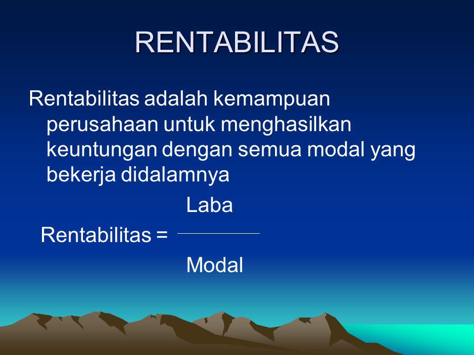 RENTABILITAS Rentabilitas adalah kemampuan perusahaan untuk menghasilkan keuntungan dengan semua modal yang bekerja didalamnya Laba Rentabilitas = Mod