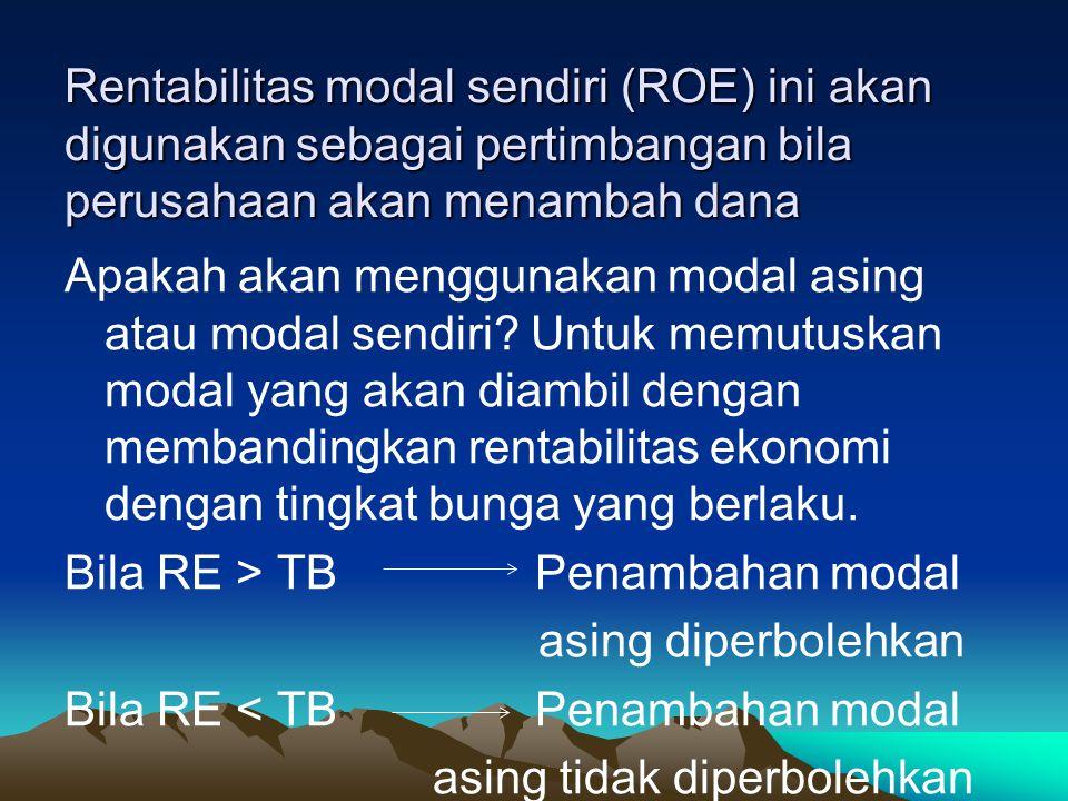 Rentabilitas modal sendiri (ROE) ini akan digunakan sebagai pertimbangan bila perusahaan akan menambah dana Apakah akan menggunakan modal asing atau m