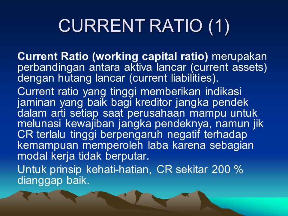 CURRENT RATIO (2) Aktiva Lancar Current Ratio (CR) = ------------------------- x 100 % Hutang Lancar 17.928.000 Current Ratio (CR) = ----------------------- x 100 % 6.584.000 = 2,72 atau 272 % CR sebesar 2,72 atau 272 % artinya kewajiban jangka pendek sebesar Rp.