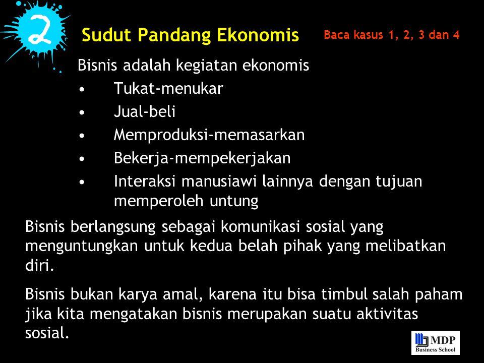 Sudut Pandang Ekonomis Bisnis adalah kegiatan ekonomis Tukat-menukar Jual-beli Memproduksi-memasarkan Bekerja-mempekerjakan Interaksi manusiawi lainny