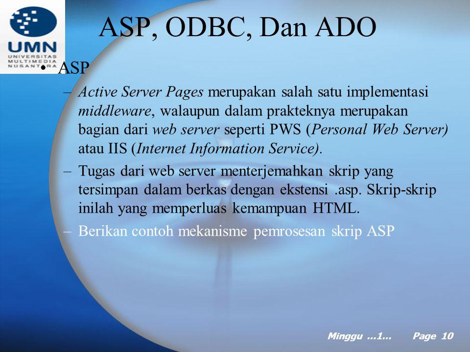 Minggu …1… Page 9 Teknologi Web (lanjt …) –Beberapa keuntungan pada teknologi Web pada sisi server: Mengurangi lalu lintas jaringan dengan cara menghindari percakapan bolak-balik antara klien dan server.