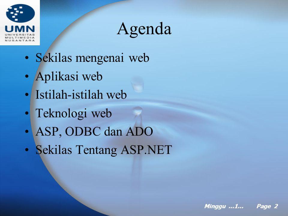 Minggu 1…… Page 1 MINGGU Ke Satu Pemrograman Visual 2 Pokok Bahasan: Mengenal Web dengan ASP Tujuan Instruksional Khusus: Mahasiswa akan dapat menjelaskan konsep pemrograman web dengan teknologi bahasa ASP Referensi: Dasar pemrograman database web dengan ASP, Abdul Kadir, Bab 1