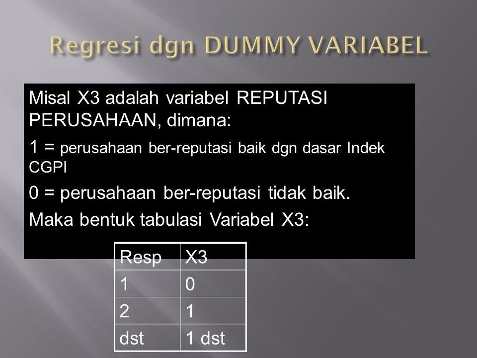 Misal X3 adalah variabel REPUTASI PERUSAHAAN, dimana: 1 = perusahaan ber-reputasi baik dgn dasar Indek CGPI 0 = perusahaan ber-reputasi tidak baik. Ma
