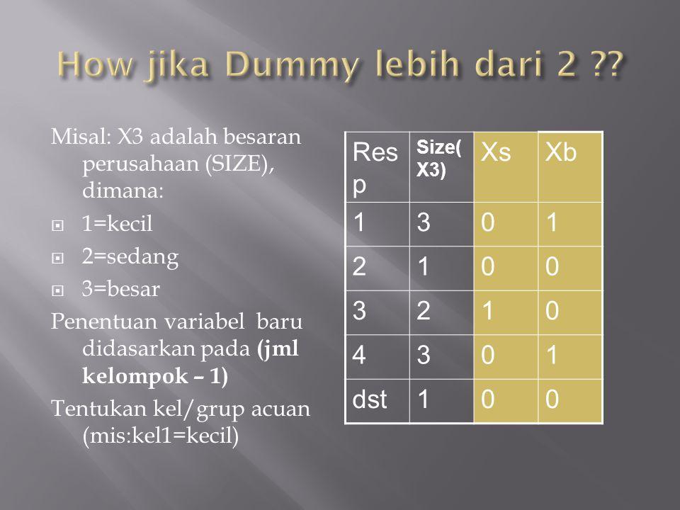 Misal: X3 adalah besaran perusahaan (SIZE), dimana:  1=kecil  2=sedang  3=besar Penentuan variabel baru didasarkan pada (jml kelompok – 1) Tentukan